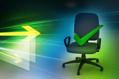Right mark sitting comfortable computer chair Stock Photo
