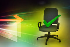 Right mark sitting comfortable computer chair Royalty Free Stock Photography