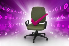 Right mark sitting comfortable computer chair Stock Photography