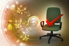 Right mark sitting comfortable computer chair Stock Photos