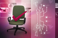 Right mark sitting comfortable computer chair Royalty Free Stock Photo