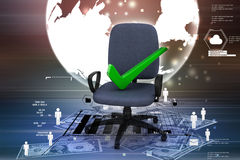 Right mark sitting comfortable computer chair Stock Images