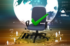 Right mark sitting comfortable computer chair Royalty Free Stock Images