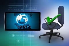 Right mark sitting comfortable computer chair Royalty Free Stock Image