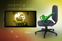 Right mark sitting comfortable computer chair Stock Image