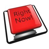 Right now. Writter over button, 3d render Royalty Free Stock Images