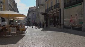 Right pan of the morning in Lisbon. Typical scene for visitors to Lisbon Portugal stock video