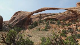 Right Pan Shot of Landscape Arch in Arches National Park stock video footage