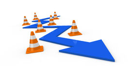 The right path. One arrow that passes between traffic cones (3d render Stock Image