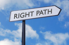 Right path sign. Right path street sign against a blue sky Stock Photo