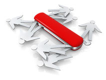 The Right Person For The Job. Metaphor of a swiss knife full of people Royalty Free Stock Photos