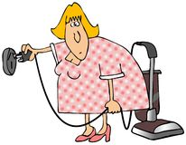 Right Plug Wrong Outlet. This illustration depicts a woman plugging a vacuum into a 220 volt outlet Royalty Free Stock Photos