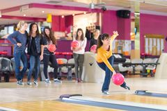 Right posture on bowling stock photography