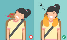 The right posture to sleep while sitting upright. Vector illustration Stock Photos