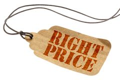 Right price isolated tag. Right price sign - a paper tag with a twine isolated on white stock image