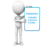 Right priorities. For a business, quality service and value on a white board held up by a little 3d man against white background Royalty Free Stock Image