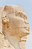 Right  profile of the Sphinx of Giza. Right  profile of the Sphinx of Giza with a pale blue sky background, Cairo, Egypt Royalty Free Stock Images
