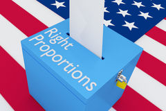 Right Proportions concept. 3D illustration of `Right Proportions` script on a ballot box, with US flag as a background Stock Photo