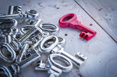 The right red key on wooden floor Royalty Free Stock Photography