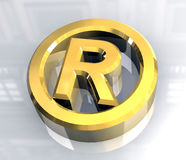 Right reserved symbol in gold - 3d Stock Image