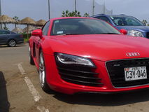 Right side front view red Audi R8 V8 FSi coupe, Lima Stock Photo