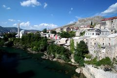 Right Side of the Mostar River Royalty Free Stock Images