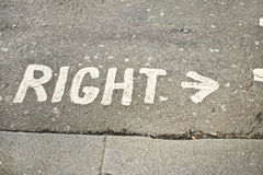 Right sign. The word right with an arrow at a street crossing point stock photo