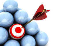 Right target. Abstract 3d illustration of balls with one target and arrow Royalty Free Stock Image
