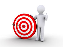 Right on target. 3d person is holding a target with an arrow on its center Royalty Free Stock Photos