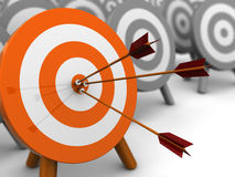 Right target. Abstract 3d illustration of darts target, right target concept Stock Photo