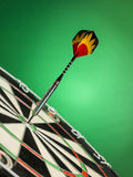Right on target. Dart focused on bulls eye  . A good metaphor for perfection and accuracy Stock Photography