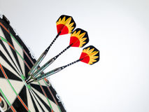 Right on target. Dart focused on bulls eye  . A good metaphor for perfection and accuracy Royalty Free Stock Images