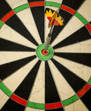 Right on target. In flight dart  focused on bulls eye Royalty Free Stock Photography