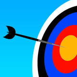 Right on target. Hitting target and getting results in life and career Stock Photo