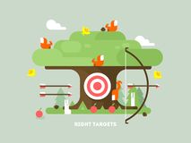 Right targets tree with animal. Business aim, achievement goal, accuracy and perfection. Vector illustration Stock Photos