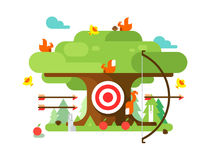 Right targets tree with animal. Business aim, achievement goal, accuracy and perfection. Vector illustration Royalty Free Stock Photos