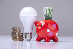 The right thing. Piggy bank and savings going from the use of LED light bulbs Royalty Free Stock Photography