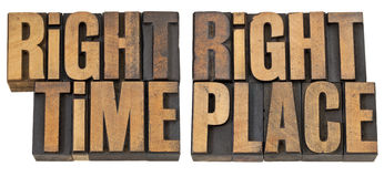 Right time, right place in wood type Royalty Free Stock Photos