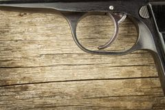 Right to bear arms. Arms control. Detail on the gun. Place for your text. Sales of firearms. Royalty Free Stock Images
