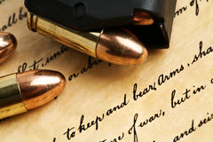 Right to keep and bear arms. US Constitution Bill of Rights with 9mm bullets and magazine Royalty Free Stock Photography