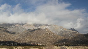 Right to left pan of the Sandia Mountains stock video footage