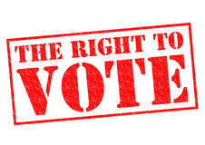 THE RIGHT TO VOTE. Red Rubber Stamp over a white background Royalty Free Stock Photos