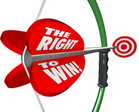 The Right to Win Words Bow Arrow Success Competitive Advantage. The Right to Win words on 3d bow and arrow as a competitive advantage for a business to gain Stock Image