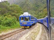 Perurail trains passing Stock Image