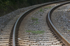 Right turn. Railroad tracks leading into the distance Royalty Free Stock Image