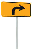 Right turn ahead route road sign perspective, yellow isolated roadside traffic signage this way only direction pointer black arrow Stock Photos