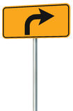 Right turn ahead route road sign perspective, yellow isolated roadside traffic signage this way only direction pointer black arrow Royalty Free Stock Photos