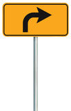 Right turn ahead route road sign, yellow isolated roadside traffic signage, this way only direction pointer, black arrow roadsign Stock Images