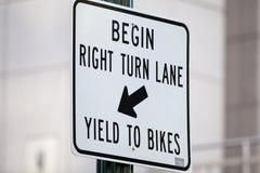 Right Turn Bike Lane Sign Stock Photos