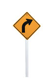 Right turn signs. Curve right road sign turn, yellow Stock Images